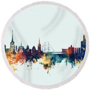 Halmstad Sweden Skyline Round Beach Towel