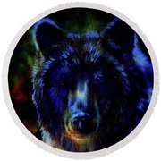 head of mighty brown bear, oil painting on canvas and graphic collage. Eye contact. Round Beach Towel