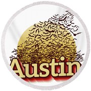 Bats Over Austin Round Beach Towel
