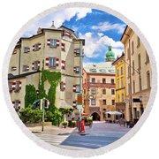 Historic Street Of Innsbruck View Round Beach Towel