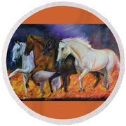 4 Horses Of The Apocalypse Round Beach Towel