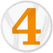 4 In Tangerine Typewriter Style Round Beach Towel