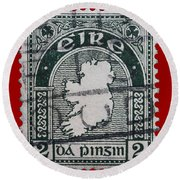 Irish Postage Stamp Round Beach Towel