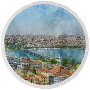 Istanbul Turkey Cityscape Digital Watercolor On Photograph Round Beach Towel
