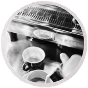 Italian Espresso Expresso Coffee Making Preparation With Machine Round Beach Towel