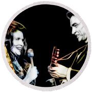 June Carter And Johnny Cash Collection Round Beach Towel