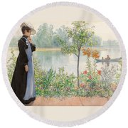 Karin By The Shore Round Beach Towel