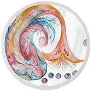 Koi Fish-watercolor Round Beach Towel