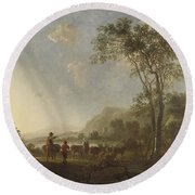 Landscape With Herdsmen And Cattle Round Beach Towel
