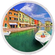 Lazise Colorful Harbor And Boats Panoramic View Round Beach Towel