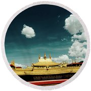 Lhasa Jokhang Temple Fragment Tibet Artmif.lv Round Beach Towel