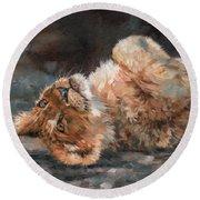 Lion Cub Round Beach Towel