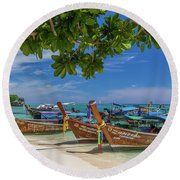Long-tail Boats, The Andaman Sea And Hills In Ko Phi Phi Don, Th Round Beach Towel