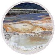 Mammoth Hot Springs Upper Terraces In Yellowstone National Park Round Beach Towel