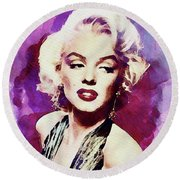 Marilyn Monroe, Actress And Model Round Beach Towel