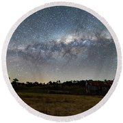 Milky Way Over A Farm Shed Round Beach Towel
