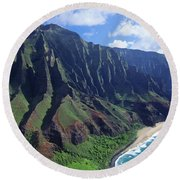 Na Pali Coast Aerial Round Beach Towel