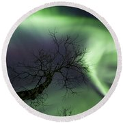 Northern Lights In The Arctic Round Beach Towel by Arild Heitmann