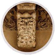 Noto, Sicily, Italy - Detail Of Baroque Balcony, 1750 Round Beach Towel