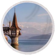 Oberhofen - Switzerland Round Beach Towel