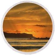 Orange Sunrise Seascape And Silhouettes Round Beach Towel