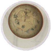 Pa. German Plate Round Beach Towel