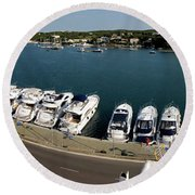 panoramic town 1 - Panorama of Port Mahon Menorca Round Beach Towel