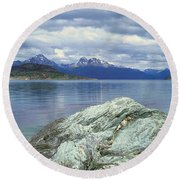 Panoramic View Of Ushuaia, Tierra Del Round Beach Towel