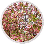 Pink Cherry Tree Round Beach Towel