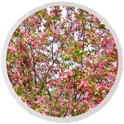 Pink Cherry Tree Round Beach Towel