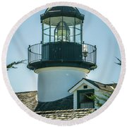 Point Pinos Lighthouse In Monterey California Round Beach Towel
