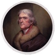 President Thomas Jefferson Round Beach Towel