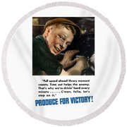Produce For Victory Round Beach Towel by War Is Hell Store