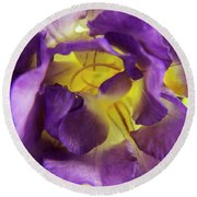 Purple Freesia Round Beach Towel