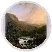 River In The Ardennes At Sunset Round Beach Towel
