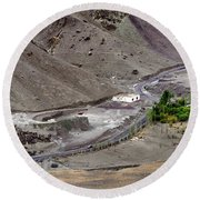 Rocky Landscape Of Leh City Ladakh Jammu And Kashmir India Round Beach Towel