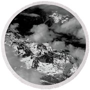 Rocky Mountains In Colorado With Snow Aerial Black And White Round Beach Towel