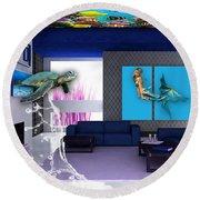 Rooftop Saltwater Fish Tank Art Round Beach Towel