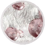 Rose Gold Christmas Baubels Round Beach Towel