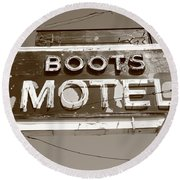 Route 66 - Boots Motel Round Beach Towel