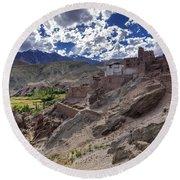 Ruins At Basgo Monastery Leh Ladakh Jammu And Kashmir India Round Beach Towel