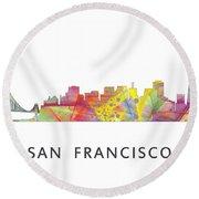 San Francisco California Skyline Round Beach Towel