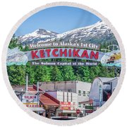 Scenery Around Alaskan Town Of Ketchikan Round Beach Towel