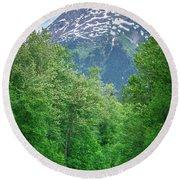 Scenic Train From Skagway To White Pass Alaska Round Beach Towel