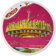 Science Fiction Magazine Round Beach Towel