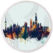 Shanghai China Skyline Round Beach Towel