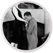 Silent Still: Hand Kissing Round Beach Towel