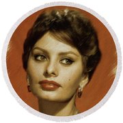 Sophia Loren, Vintage Actress Round Beach Towel