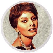Sophia Loren, Vintage Movie Star Round Beach Towel