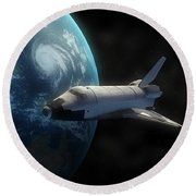 Space Shuttle Backdropped Against Earth Round Beach Towel